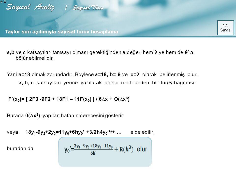 Sayısal Analiz / Sayısal Türev