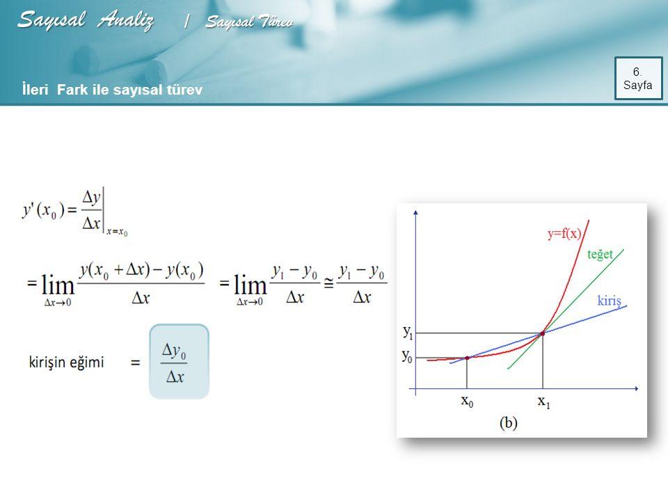 Sayısal Analiz / Sayısal Türev 6. Sayfa İleri Fark ile sayısal türev