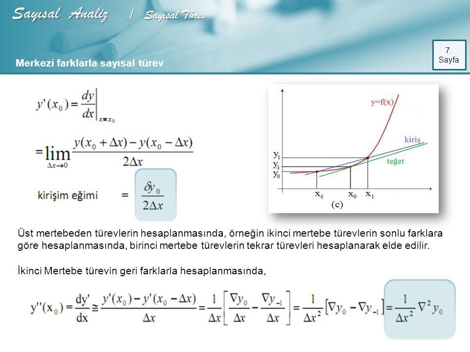 Sayısal Analiz / Sayısal Türev Merkezi farklarla sayısal türev