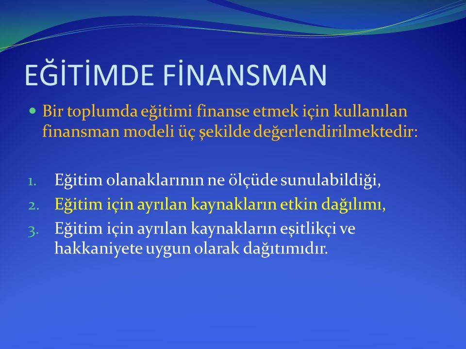 EĞİTİMDE FİNANSMAN Bir toplumda eğitimi finanse etmek için kullanılan finansman modeli üç şekilde değerlendirilmektedir: