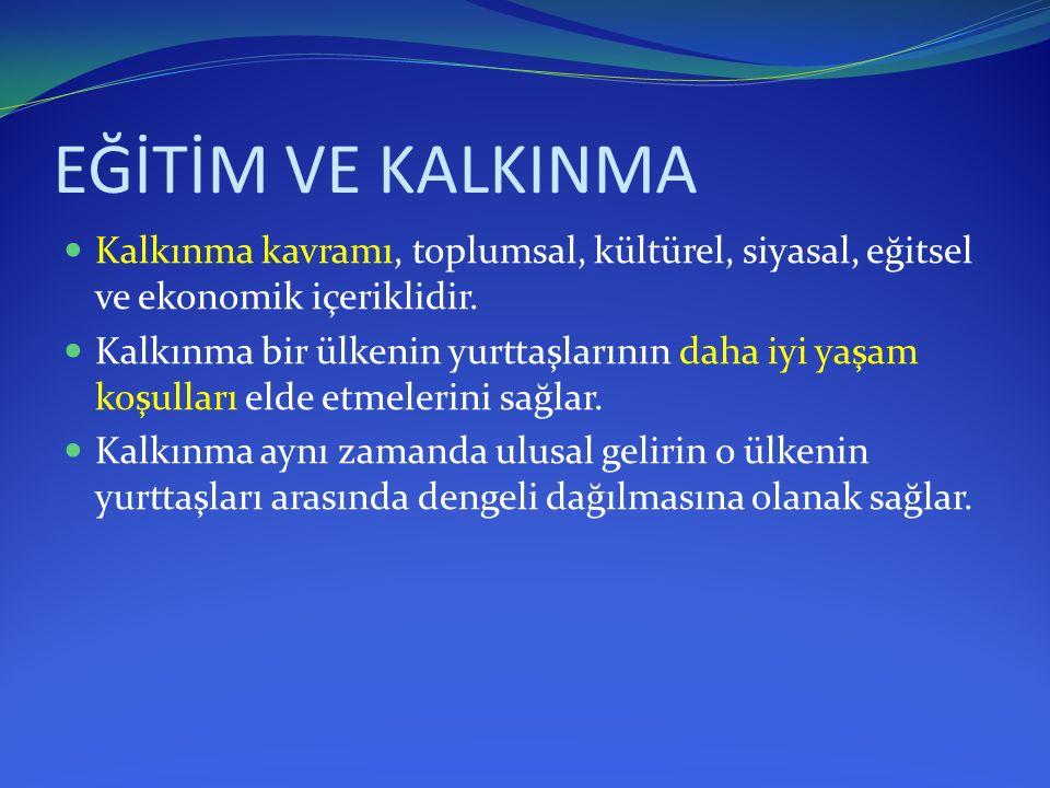 EĞİTİM VE KALKINMA Kalkınma kavramı, toplumsal, kültürel, siyasal, eğitsel ve ekonomik içeriklidir.