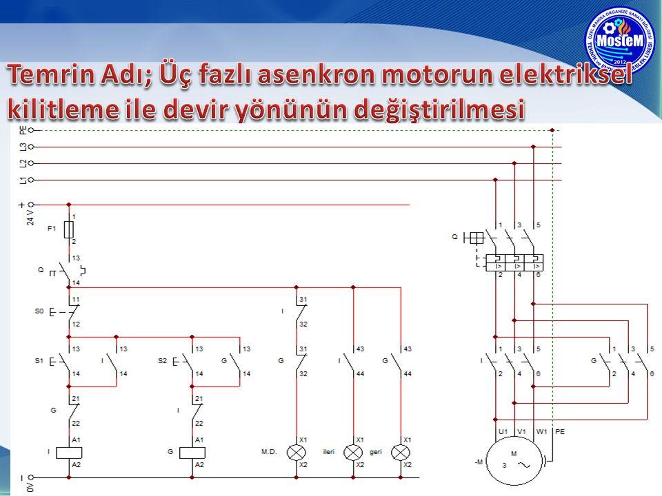 Temrin Adı; Üç fazlı asenkron motorun elektriksel kilitleme ile devir yönünün değiştirilmesi