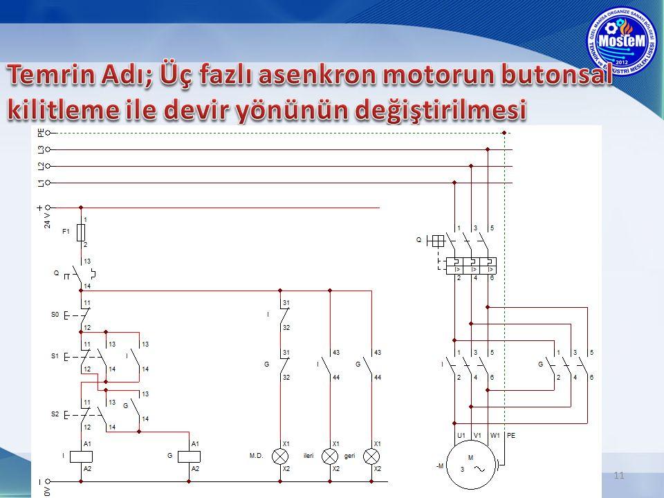 Temrin Adı; Üç fazlı asenkron motorun butonsal kilitleme ile devir yönünün değiştirilmesi