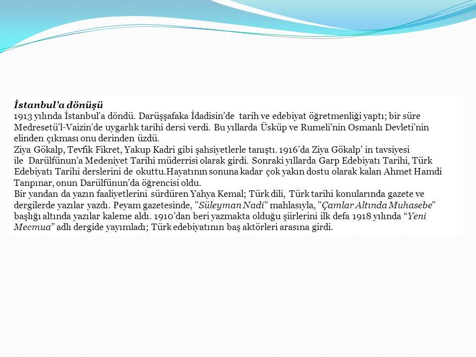 İstanbul'a dönüşü