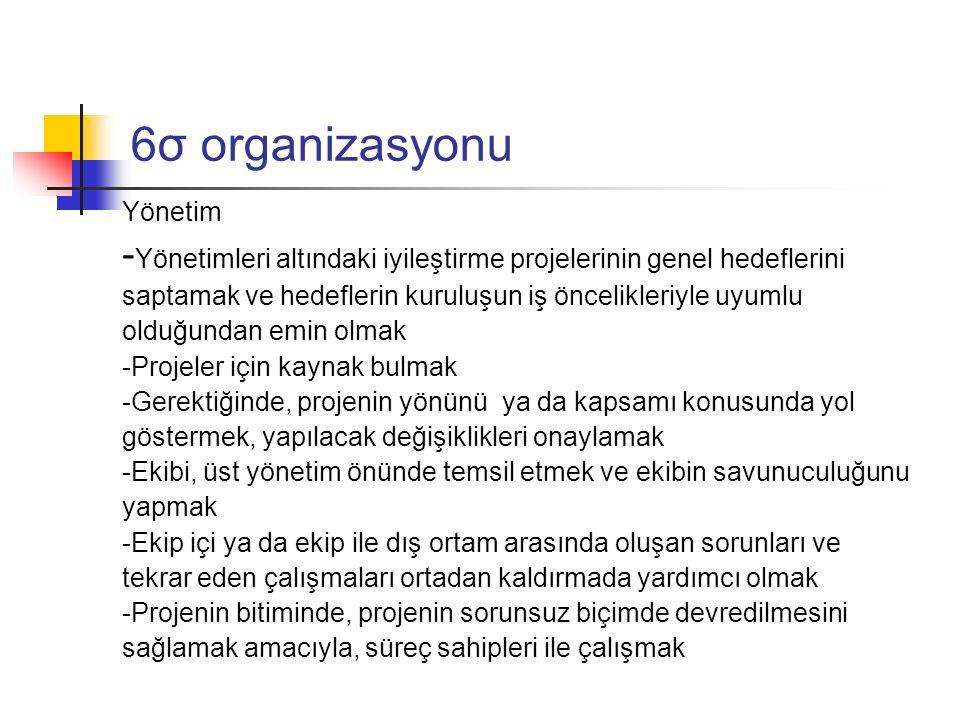 6σ organizasyonu Yönetim. -Yönetimleri altındaki iyileştirme projelerinin genel hedeflerini.