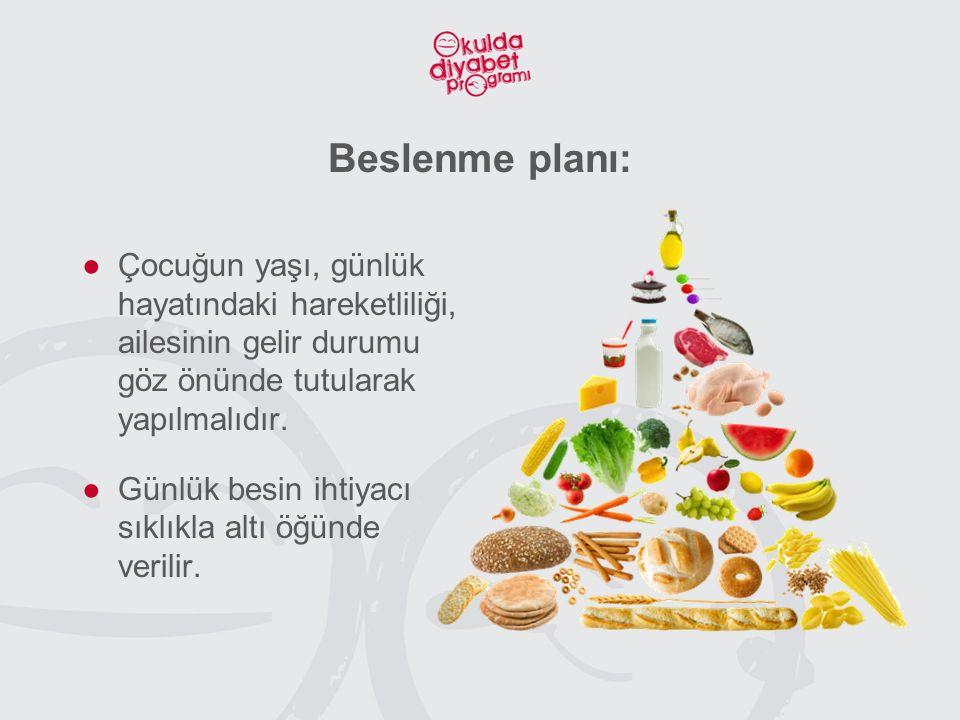 Beslenme planı: Çocuğun yaşı, günlük hayatındaki hareketliliği, ailesinin gelir durumu göz önünde tutularak yapılmalıdır.