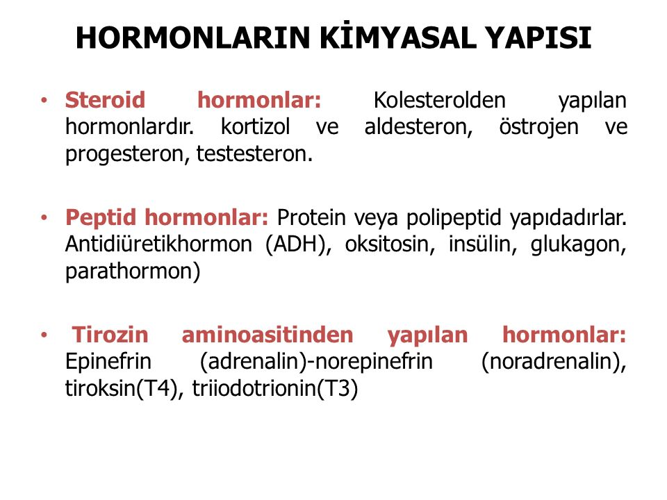 HORMONLARIN KİMYASAL YAPISI
