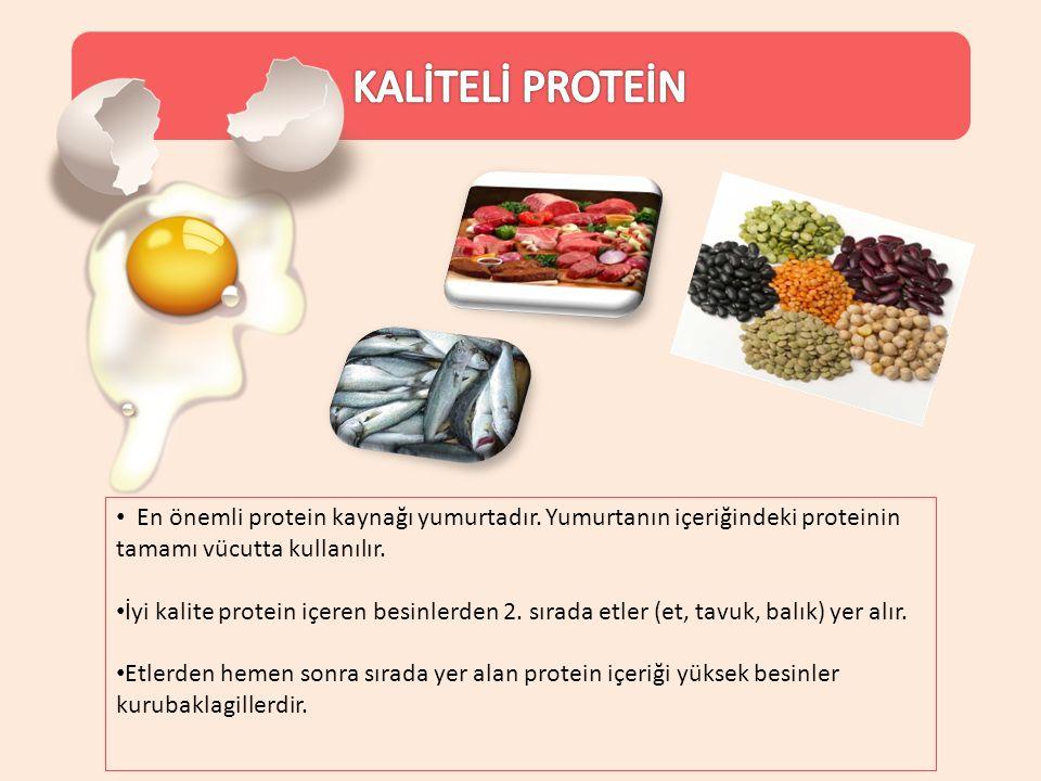 KALİTELİ PROTEİN En önemli protein kaynağı yumurtadır. Yumurtanın içeriğindeki proteinin tamamı vücutta kullanılır.