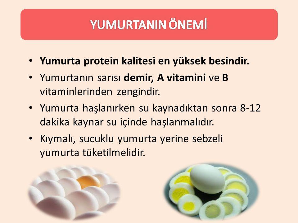 YUMURTANIN ÖNEMİ Yumurta protein kalitesi en yüksek besindir.