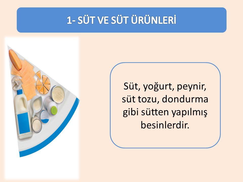 1- SÜT VE SÜT ÜRÜNLERİ Süt, yoğurt, peynir, süt tozu, dondurma gibi sütten yapılmış besinlerdir.
