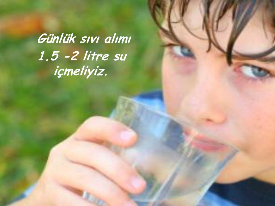 Günlük sıvı alımı 1.5 -2 litre su içmeliyiz.