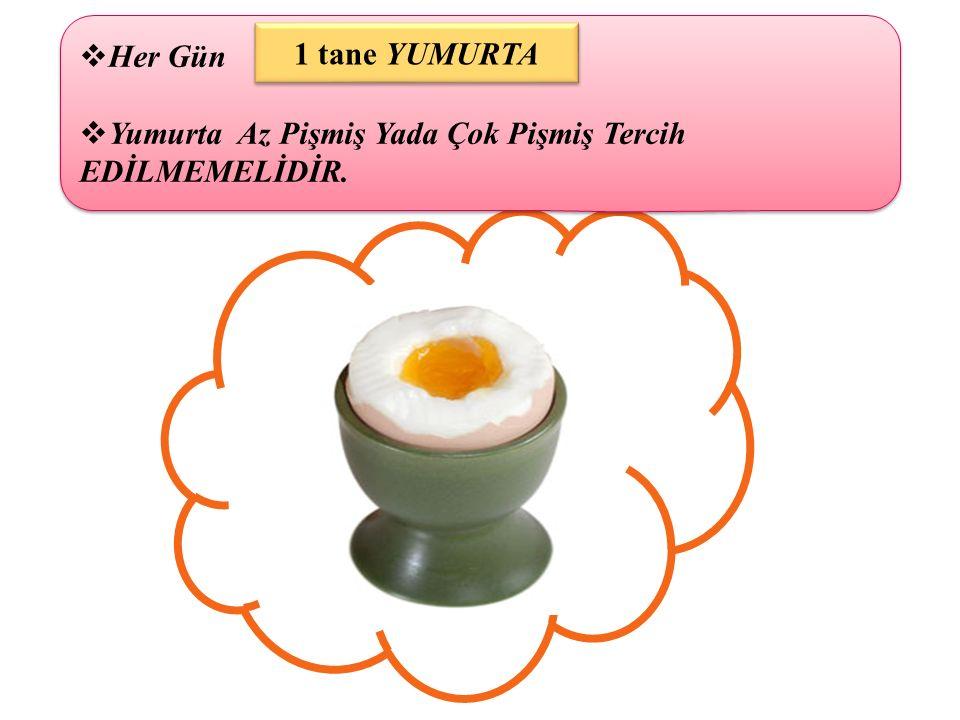 Yumurta Az Pişmiş Yada Çok Pişmiş Tercih EDİLMEMELİDİR. 1 tane YUMURTA