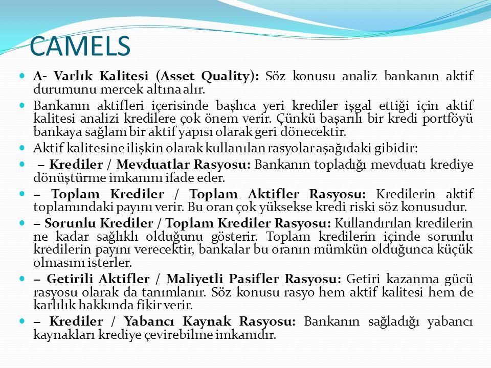 CAMELS A- Varlık Kalitesi (Asset Quality): Söz konusu analiz bankanın aktif durumunu mercek altına alır.