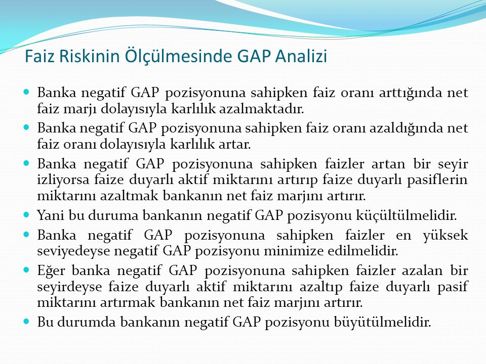 Faiz Riskinin Ölçülmesinde GAP Analizi
