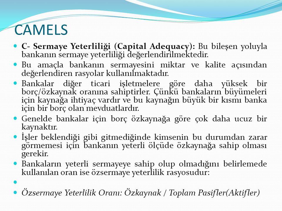 CAMELS C- Sermaye Yeterliliği (Capital Adequacy): Bu bileşen yoluyla bankanın sermaye yeterliliği değerlendirilmektedir.