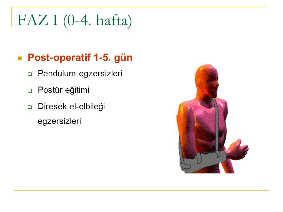 FAZ I (0-4. hafta) Post-operatif 1-5. gün Pendulum egzersizleri