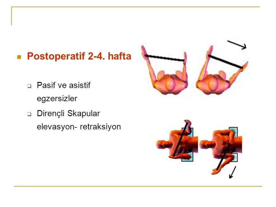 Postoperatif 2-4. hafta Pasif ve asistif egzersizler