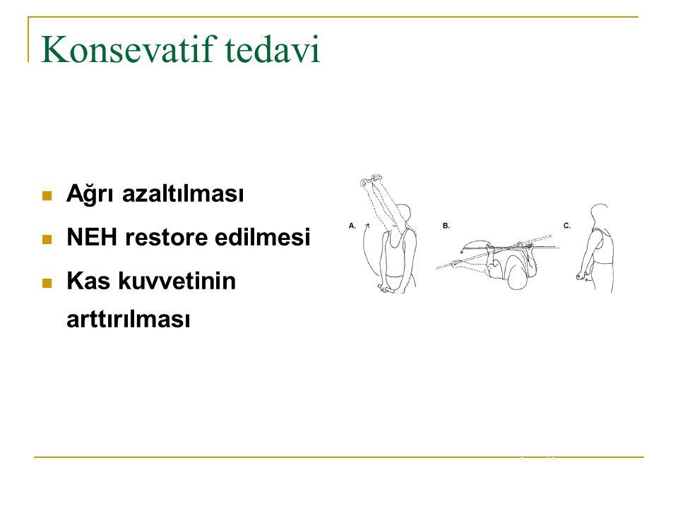 Konsevatif tedavi Ağrı azaltılması NEH restore edilmesi