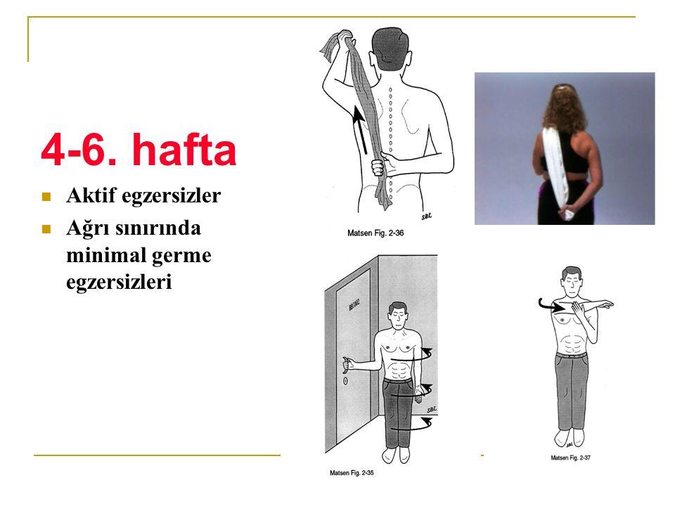 4-6. hafta Aktif egzersizler Ağrı sınırında minimal germe egzersizleri