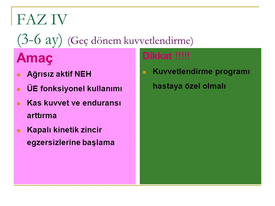 FAZ IV (3-6 ay) (Geç dönem kuvvetlendirme)