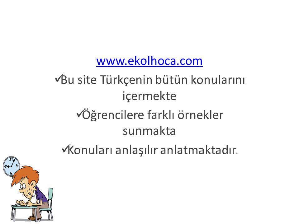 Bu site Türkçenin bütün konularını içermekte