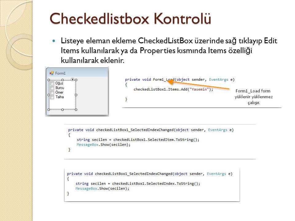 Checkedlistbox Kontrolü