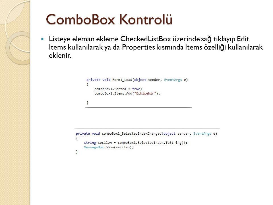 ComboBox Kontrolü