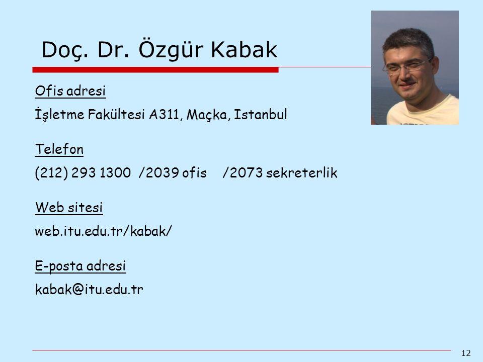 Doç. Dr. Özgür Kabak Ofis adresi
