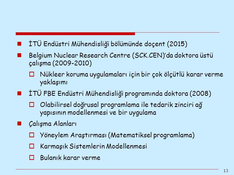 İTÜ Endüstri Mühendisliği bölümünde doçent (2015)