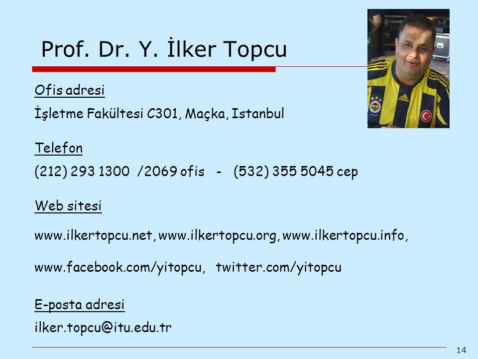 Prof. Dr. Y. İlker Topcu Ofis adresi