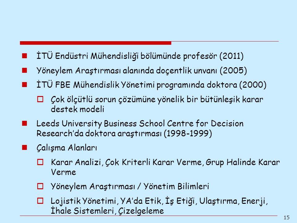 İTÜ Endüstri Mühendisliği bölümünde profesör (2011)