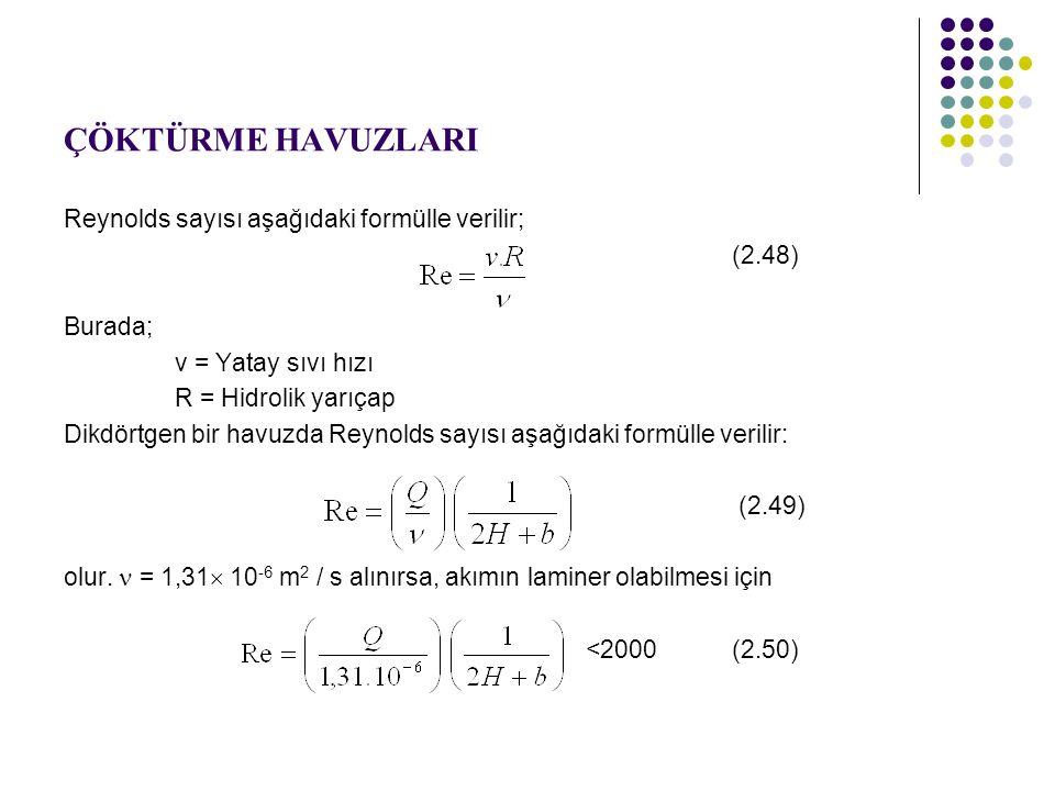 ÇÖKTÜRME HAVUZLARI Reynolds sayısı aşağıdaki formülle verilir; (2.48)
