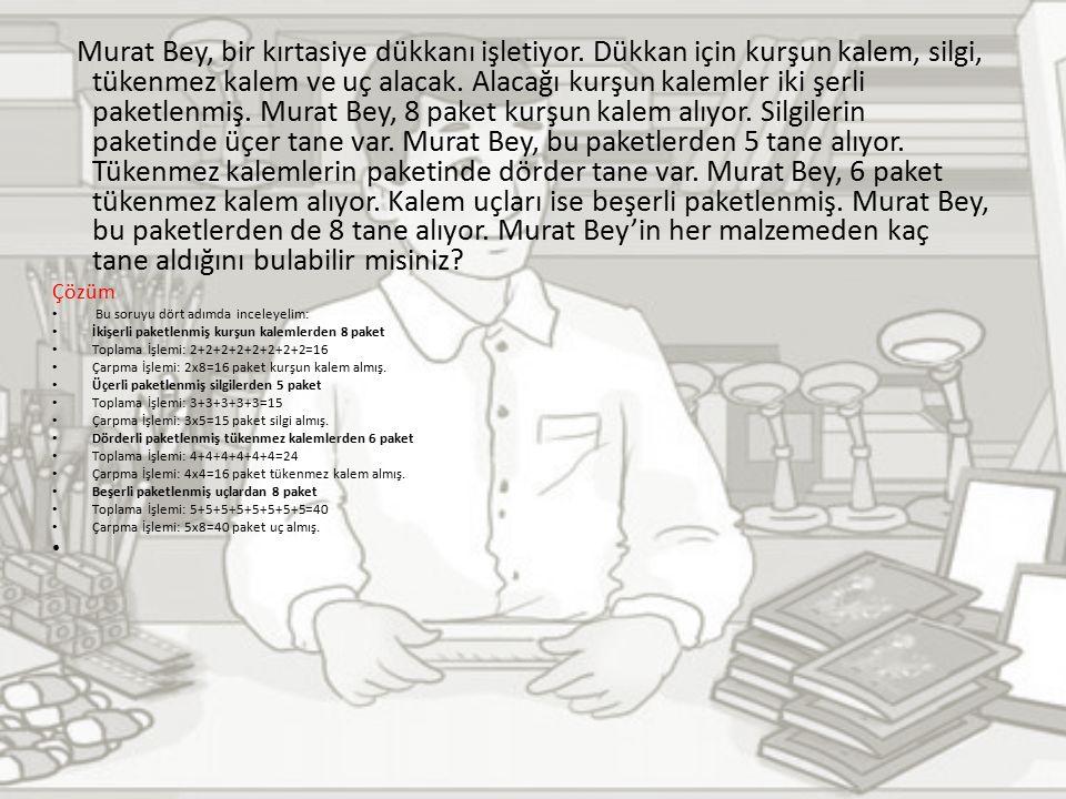 Murat Bey, bir kırtasiye dükkanı işletiyor