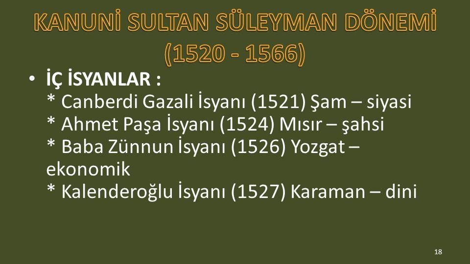 KANUNİ SULTAN SÜLEYMAN DÖNEMİ (1520 - 1566)