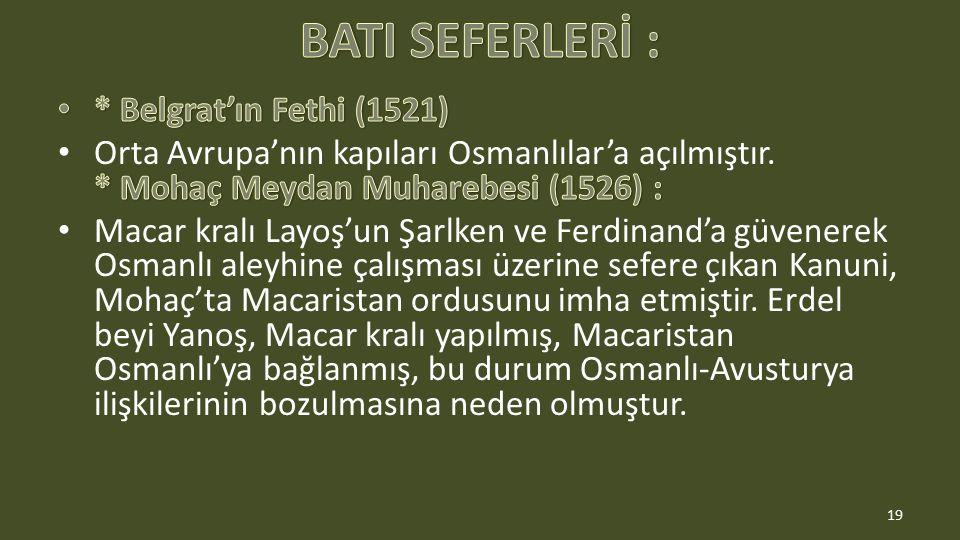 BATI SEFERLERİ : * Belgrat'ın Fethi (1521)