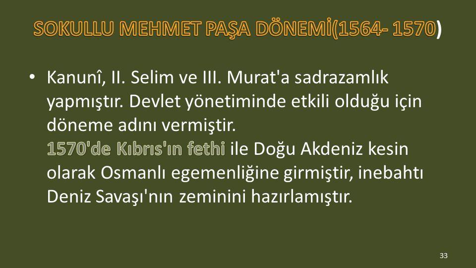 SOKULLU MEHMET PAŞA DÖNEMİ(1564- 1570)