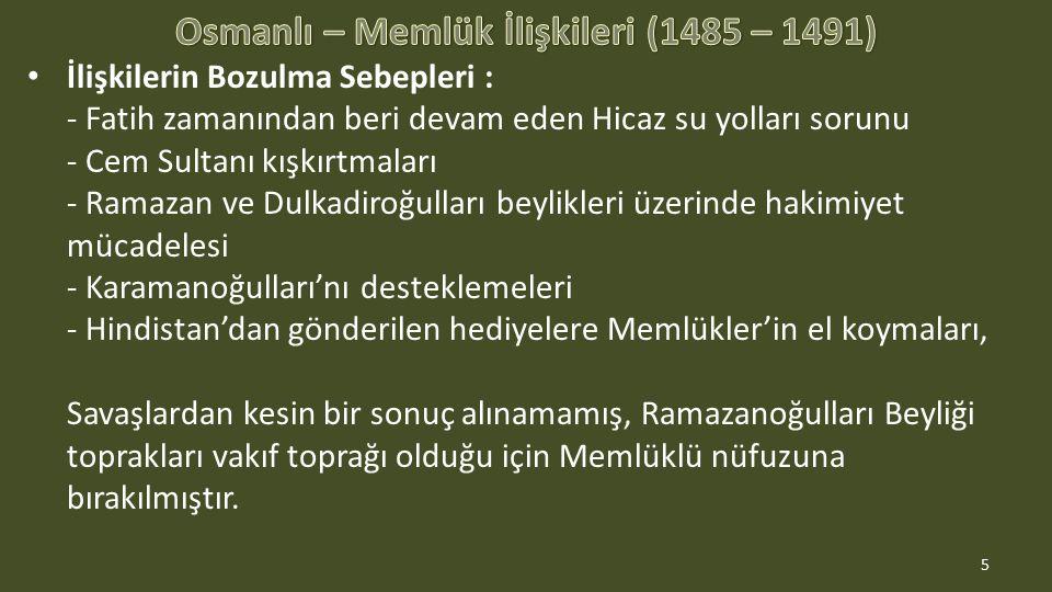 Osmanlı – Memlük İlişkileri (1485 – 1491)