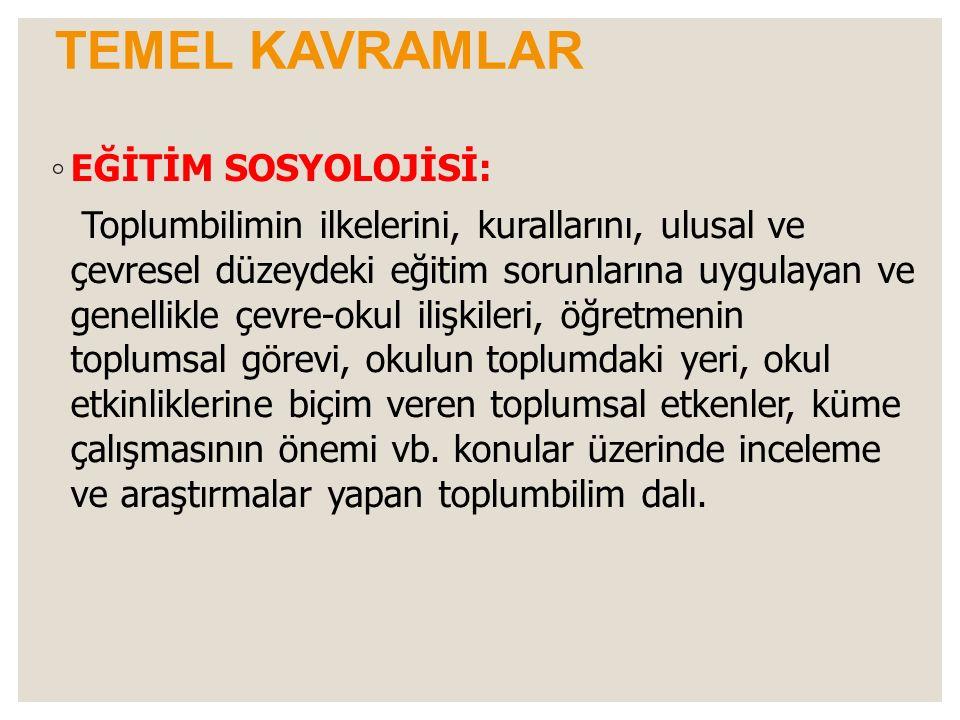 TEMEL KAVRAMLAR EĞİTİM SOSYOLOJİSİ: