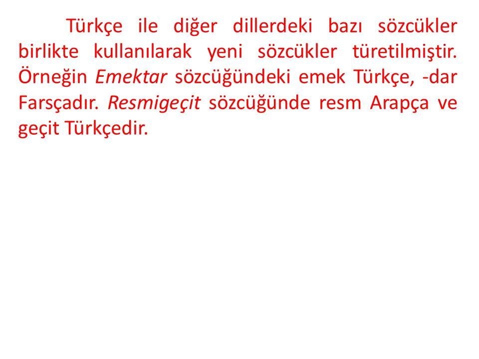 Türkçe ile diğer dillerdeki bazı sözcükler birlikte kullanılarak yeni sözcükler türetilmiştir.
