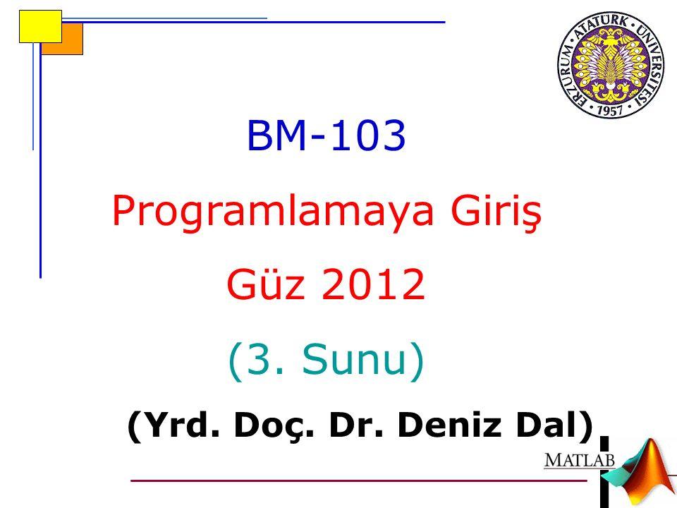 BM-103 Programlamaya Giriş Güz 2012 (3. Sunu)
