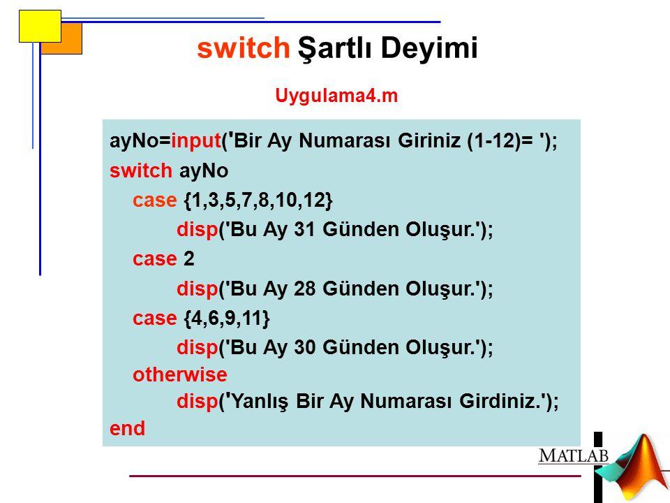 switch Şartlı Deyimi ayNo=input( Bir Ay Numarası Giriniz (1-12)= );