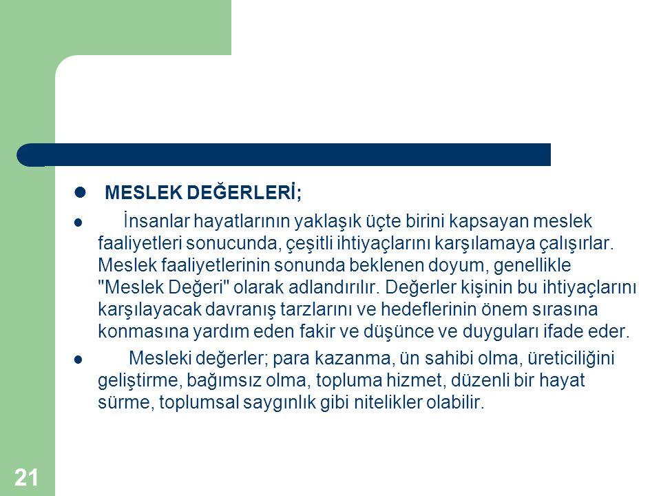 MESLEK DEĞERLERİ;