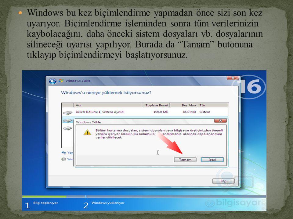 Windows bu kez biçimlendirme yapmadan önce sizi son kez uyarıyor