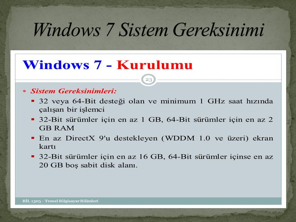 Windows 7 Sistem Gereksinimi