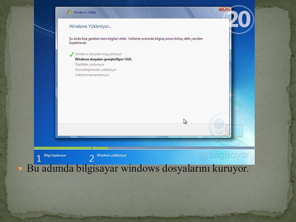 Bu adımda bilgisayar windows dosyalarını kuruyor.