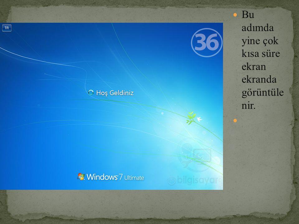 Bu adımda yine çok kısa süre ekran ekranda görüntüle nir.