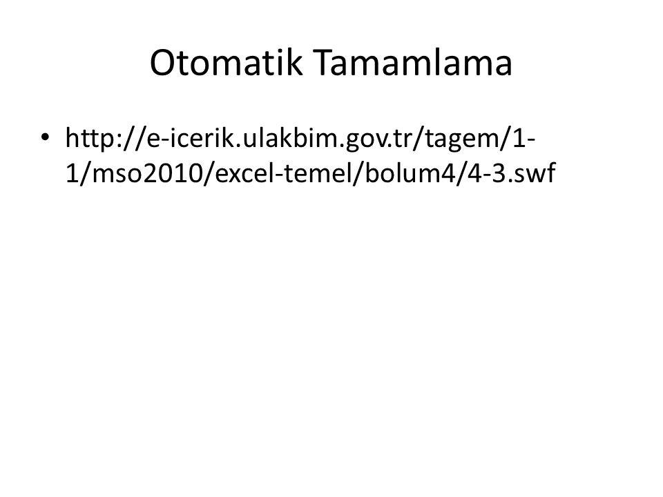 Otomatik Tamamlama http://e-icerik.ulakbim.gov.tr/tagem/1-1/mso2010/excel-temel/bolum4/4-3.swf