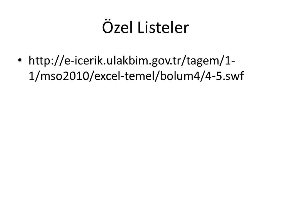 Özel Listeler http://e-icerik.ulakbim.gov.tr/tagem/1-1/mso2010/excel-temel/bolum4/4-5.swf