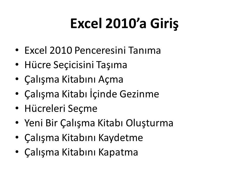 Excel 2010'a Giriş Excel 2010 Penceresini Tanıma
