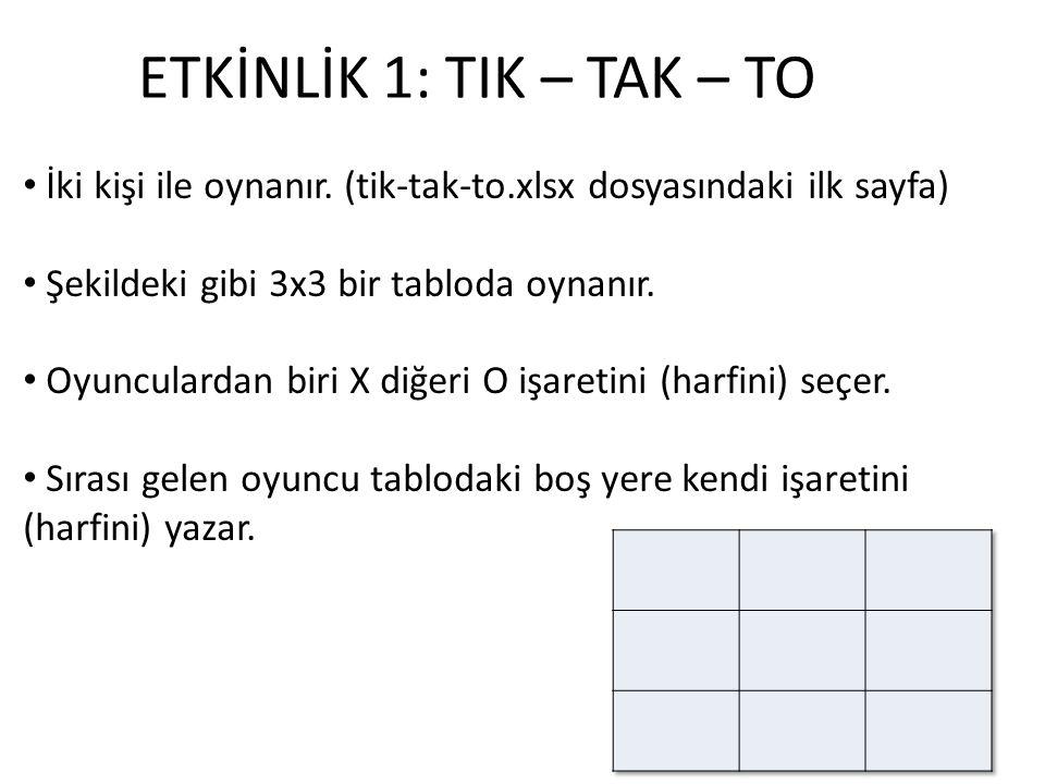 ETKİNLİK 1: TIK – TAK – TO İki kişi ile oynanır. (tik-tak-to.xlsx dosyasındaki ilk sayfa) Şekildeki gibi 3x3 bir tabloda oynanır.